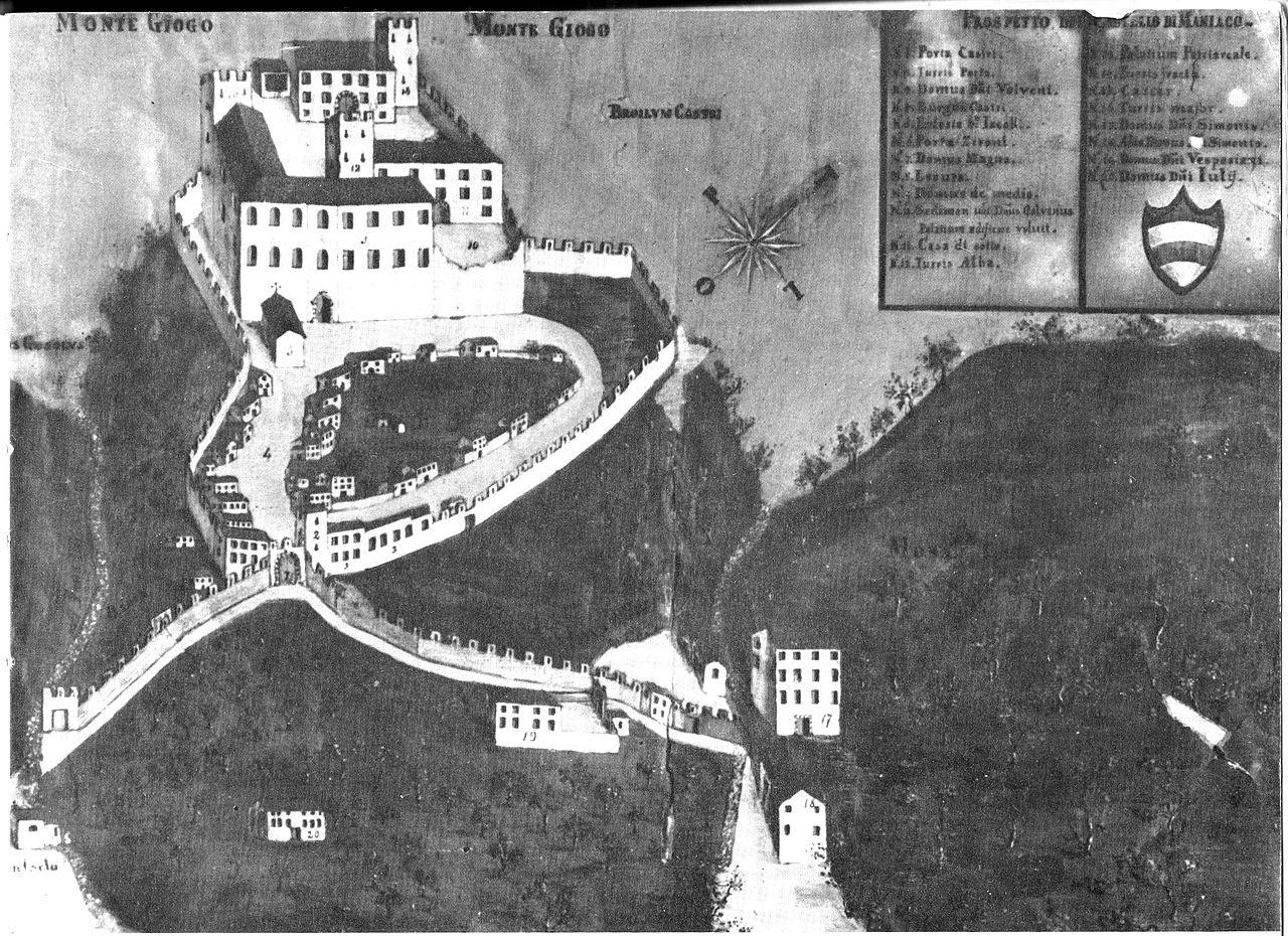 Dipinto del '600 raffigurante il castello di Maniago. Copia di un originale del '400.