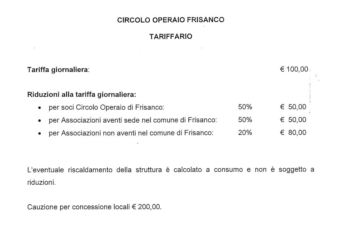 Il tariffario del Circolo Operaio a Frisanco