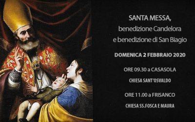Santa Messa, benedizione Candelora e benedizione di San Biagio